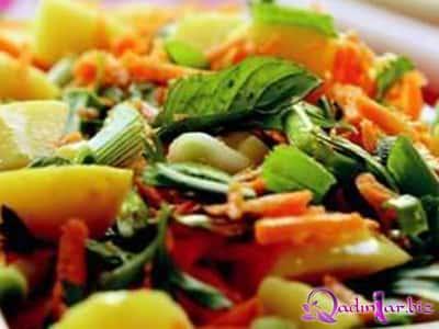 Kök kartof salatı resepti