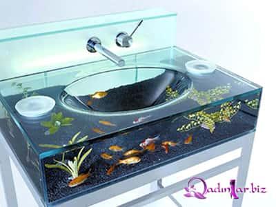 İnteryerdə dekorativ akvariumlar